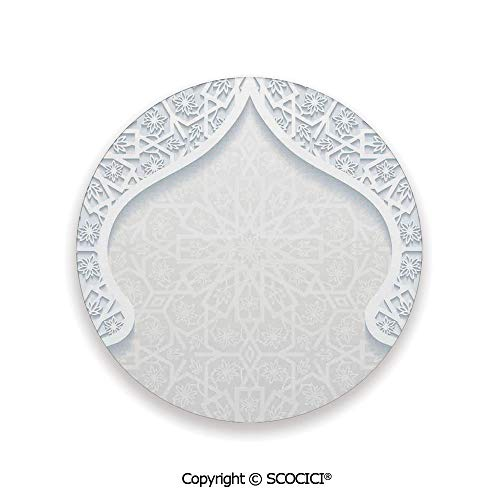 (Ceramic Coaster With Cork Mat on the back side, Tabletop Protection for Any Table Type, round coaster,Traditional House Decor,Arabesque Arched Royal Persian,3.9