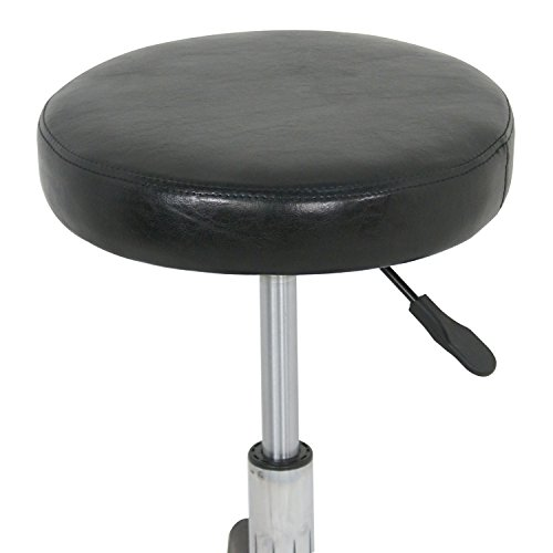F2C Leather Adjustable Bar Stools Swivel Chairs Facial Massage Spa Salon Stool with Wheels White/Black (Black) by F2C (Image #2)