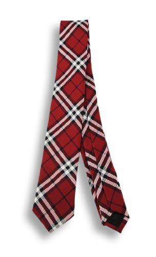 Red / Black Plaid Necktie Neck Tie Tartan Scottish (Tartan Tie Welsh)