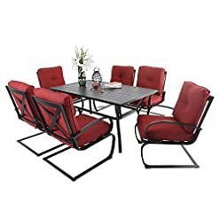 Garden and Outdoor PHI VILLA 7 Piece Patio Dining Set with 60″x38″ Rectangular Large Metal Dining Table and 6 Pcs Outdoor C-Spring Motion Dining Chairs, Padded with Red Cushion for Patio Backyard patio dining sets