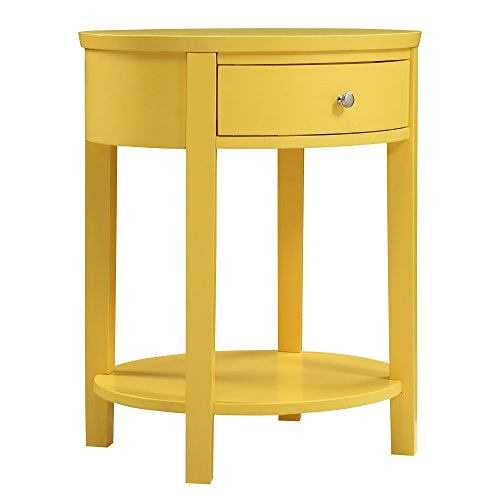 Casual Fillmore 1-Drawer Oval Wood Shelf French Dovetail Construction Accent End Table (Yellow)