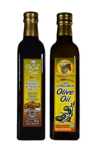 De La Rosa Real Foods & Vineyards - Kosher Italian Aged Balsamic Vinegar of Modena & Kosher EVOO 16.9 oz each by De La Rosa Real Foods & Vineyards