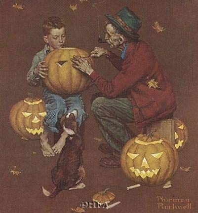 (Norman Rockwell - Ghostly Gourds 10.5 x)