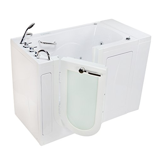 Ella OA3052DH-DC-L Malibu Acrylic Hydro and Air Jets Walk-in Bathtub, Outward Swing Door, Thermo ...