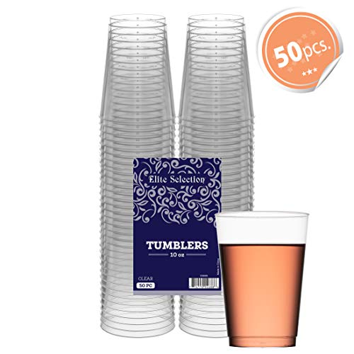 (Clear Disposable Plastic Cups 10 Oz. Pack Of (50) Fancy Hard Plastic Cups - Party Accessories - Wedding - Cocktails- Tumblers)
