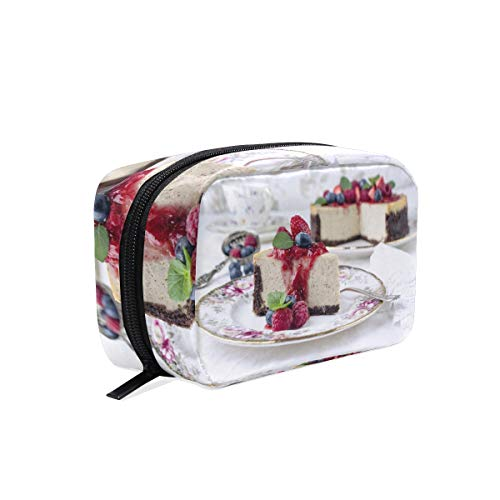 Cosmetic Makeup Bag Pouch Berry Cake Cheesecake Dessert Fruit Pastry -