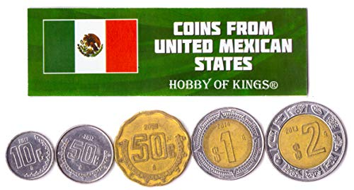 Hobby of Kings Different Coins - Old, Collectible Mexican Foreign Currency for Collecting Book - Unique, Commemorative World Money Sets - Gifts for Collectors - Collection of 5