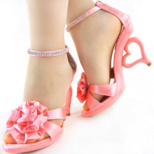 Story SM33101 Confetto removibile sposa cinturino alla fiori dei sandali scarpe Mostra da sposa colori 20 Rosa caviglia pSxRwCCBq