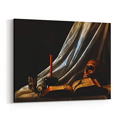 Rosenberry Rooms Canvas Wall Art Prints - Still Life Art Photography On Human Skull Skeleton with Book (20 x 16 inches) ()