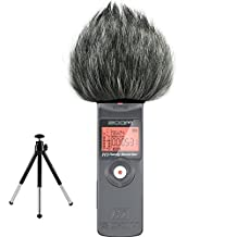 First2savvv TM-H1-E01G6 Outdoor Portable Digital Recorders Furry Microphone Mic Windscreen Wind Muff for Zoom H1 + mini stand