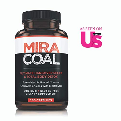 Miracoal Hangover Prevention with Organic Activated Coconut Charcoal Detox and Relief 100 Capsules for Alcohol Recovery A Gluten Free Dietary Supplement with Electrolytes