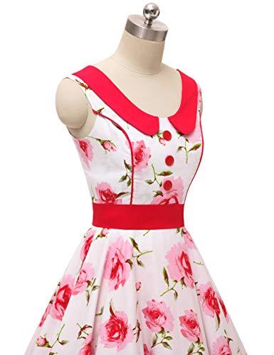 para de para 60 rockabilly de Vestido 50 vestido Fleur4 retro sin y verano mangas mujer estilo años noche VKStar® qTE8BZwT