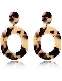 Acrylic Earrings for Women Girls Statement Geometric Earrings Resin Acetate Drop Dangle Earrings Mottled Hoop Earrings Fashion Jewelry
