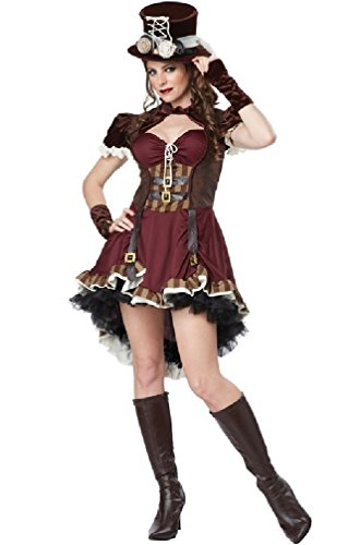 [8eighteen Wild West Victorian Steampunk Girl Burlesque Adult Costume] (Steampunk Gypsy Costume)