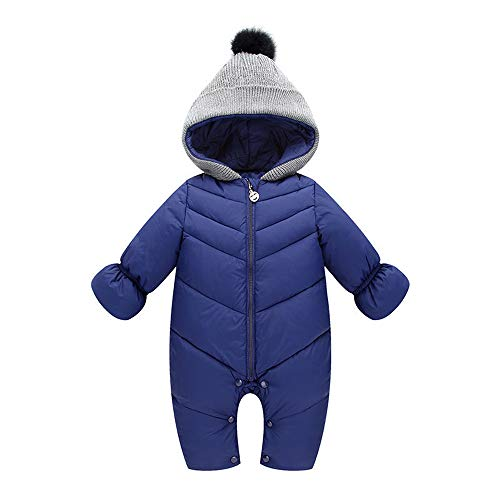 Baby Boys Girls Jumpsuit Hoodie Romper Outfit Thick Warm Long Sleeve Creepers Bodysuit Winter Clothes (6-12 Months, Navy)