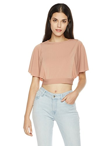 Painted Heart Women's Ruffle Sleeve Open Back Crop Top Large Dusty (Back Open Knit Top)