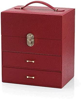 SBSNH 木製ウォッチボックス高級トップウッドウォッチディスプレイケースジュエリー収納オーガナイザー、カラー:ワインレッド
