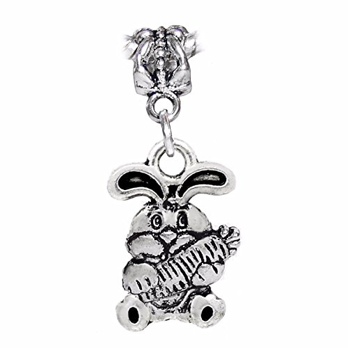 Jewelry Making Supplies Rabbit Holding a Carrot Animal Easter Bunny Dangle Charm for European Bracelet Make Personalized Necklaces Bracelets and Other Jewelry