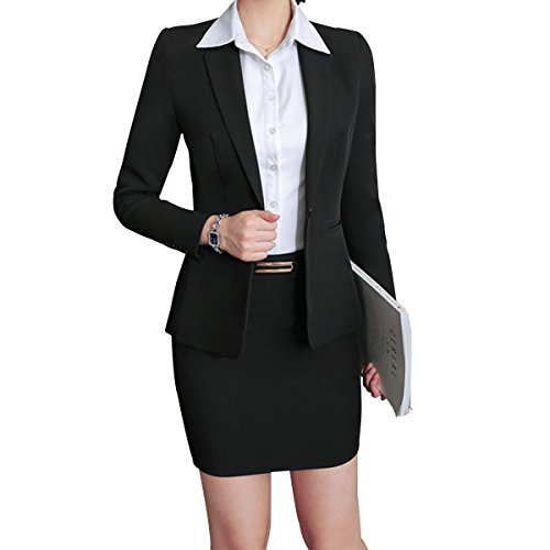 Women's 2 Piece Business Skirt Suit Set Office Lady Slim Fit Blazer and Skirt ()