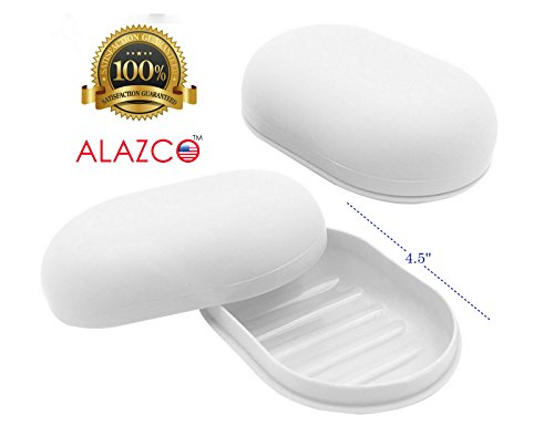 (1 ALAZCO Travel Soap Dish Large Oval Container Box Case White Great For Home School Gym)