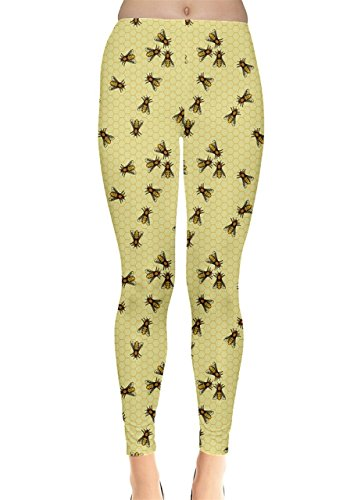 CowCow Womens Light Yellow Pattern of The Bee On Honeycombs Leggings, Light Yellow - 3XL ()