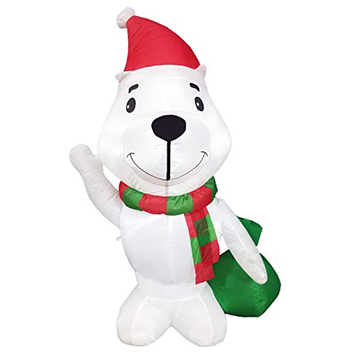 Dreamone 4 Foot Christmas Inflatable Polar Bear for Christmas Decorations Indoor Outdoor Yard Garden Party Decorations