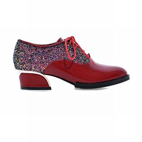 check out bc523 3d820 Charm Fot Kvinna Mode Paljetter Lackläder Snörning Oxford Skor Röd ...