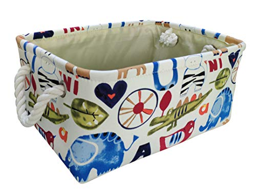 LEELI Rectangular Canvas Storage Basket Collapse Fabric Cartoon Storage Cube Bin with Handles for Organizing Kids Toy/Playroom Organization/Toy Bin/Closet /Shelf Baskets/Baby Hamper(Zoo)