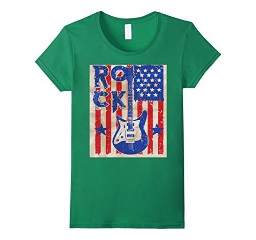 merican Flag Vinatge T-Shirt USA Music Band Medium Kelly Green (Usa Rocks American Flag)