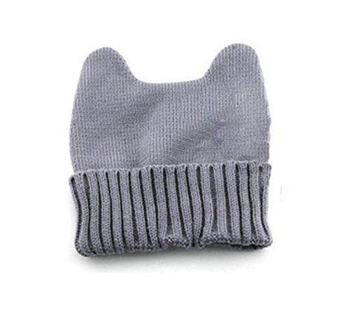 LanLan Women Warm Winter Cat Ear Shape Knitted Hat Elastic Beanie Cap