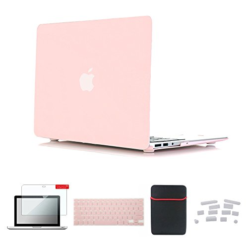 Se7enline Macbook Pro 15 inch Retina Case Smooth Soft-Touch Matte Plastic Hard Cover for MacBook Pro 15 inch with Retina with Sleeve Bag, Keyboard Cover, Screen Protector, Dust plug, Rose Quartz (Best Bag For Macbook Pro 15 Retina)