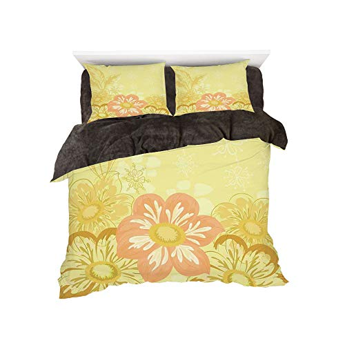 All Season Flannel Bedding Duvet Covers Sets for Girl Boy Kids 4-Piece Full for bed width 4ft Pattern by,Yellow,Ethnic Mexican Dahlia Flower and Curving Leaves Florals for Home Decor Decorative,Yelllo