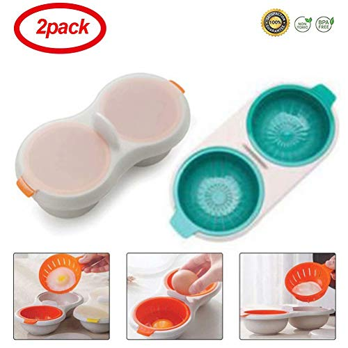 2 Pack Egg Poacher Microwave Egg Cooker,Double-Layer Egg Coo