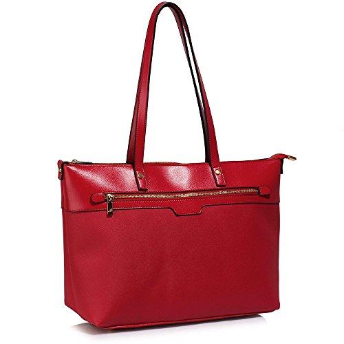 TrendStar Mujeres Bolsas De Créateurs hombro de patente bolsos de damas de moda Fourre Tout C - Red