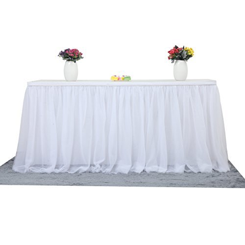 Table Skirts For Wedding (9ft White Table Skirt Tulle Tutu Table Skirt For Rectangle or Round Table Tulle Tableware Table Cloth For Party,Wedding,Birthday Party&Home Decoration,Table Skirting (L9(ft) H 30in,)