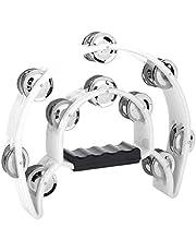 Hand Tambourine Double Row Jingle Handbell Tambourine Percussion Musical Instrument (White)