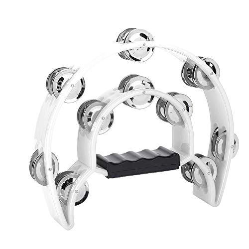 (Half Moon Tambourine, Hand Tambourine Double Row Metal Jingles Hand Held Percussion Instrument for Gift KTV Party Kids Toy with Ergonomic Handle Grip(White))
