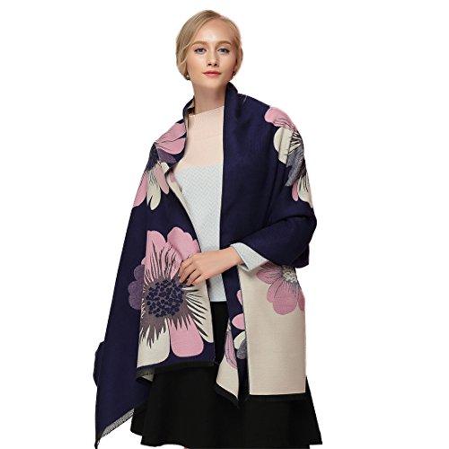 GWELL Capes Ponchos Femme Large Echarpe Chale Chaud Manteau Tricot Fleurs bleu fonc