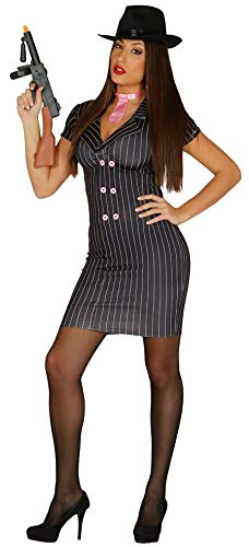 Ladies 1920s Sexy Black Pinstriped Pink Gangster Moll Bugsy Malone Halloween Carnival Fancy Dress Costume Outfit (S/M (UK 10-12)) -