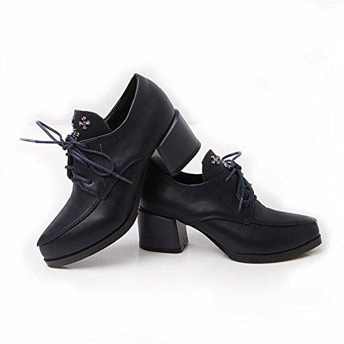 Charm Foot Vintage Mujeres Mid Heel Oxfords Zapatos Brogue Azul Oscuro