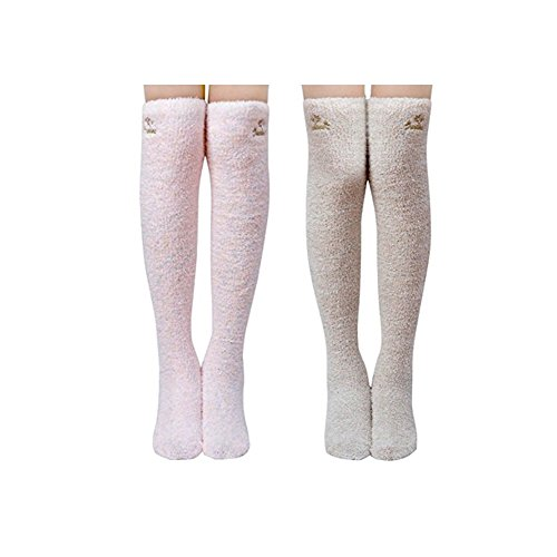 Solid Thigh High Sock (Keylleen Over Knee Thigh High Stockings Girls Warm Cozy Slipper Socks 2 Pairs (Solid))