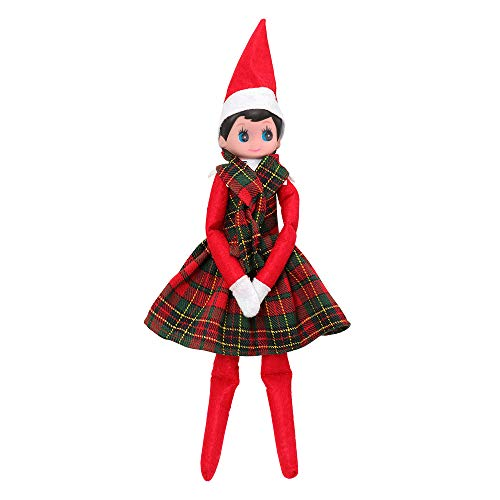 Miunana Christmas Doll Clothes Includ Plaid Tube top Skirt + Plaid Scarf for Elf Doll Clothes for Girl Xmas Gift(Not Include Doll)