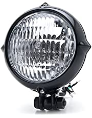 Kapsco Moto Vintage Style Black Motorcycle Headlight Retro Cafe Racer Bobber Chopper Cruiser