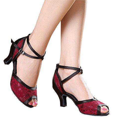 Salsa Ballroom Tango Modern Satin Strap Peep Red Women's Latin Lace Toe Ankle Shoes Dance TDA Bz0q1P
