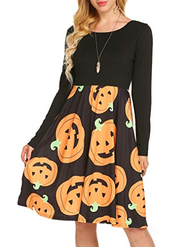Women's Casual Fall Cross Cross Open Back Halloween Shift Dress Orange, XL