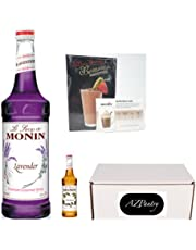 AZPantry Bundle Lavender Syrup, Aromatic and Floral, Natural Flavors, Monin Great for Cocktails, Lemonades, and Sodas, , Non-GMO, Gluten-Free (750 ml) Also Comes With A Bonus 50ml Sampler of Hazelnut Syrup and Recipe Book