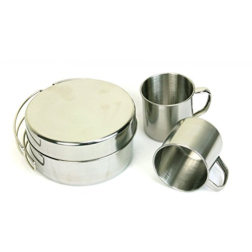 Outdoor Camping Cookware, Stainless Steel Hiking Backpacking Picnic Portable Mini Cooking Set, 8 Pcs, For 5-6 Person by Carole4