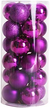 Ouneed/® 24PCs 4 cm Noel Boules Sapin de Noel Decor Violet