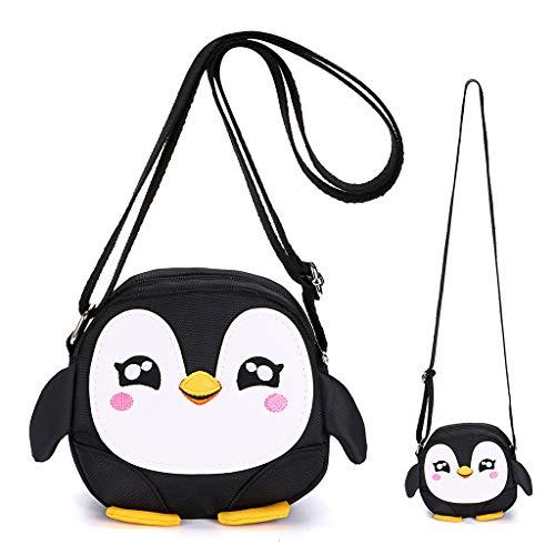 Hipiwe Kids Crossbody Purse Shoulder Bag Mini Cute Little Girls Purses Bags Cartoon Animal Preschool Messenger Handbag for Children Toddler Baby Girls (Black Penguin)