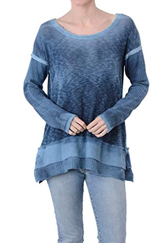 T Party Women`s Tie Dye Waffle Contrast Top/Blue L
